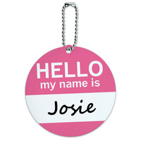 Josie Hello My Name Is Round ID Card Luggage Tag