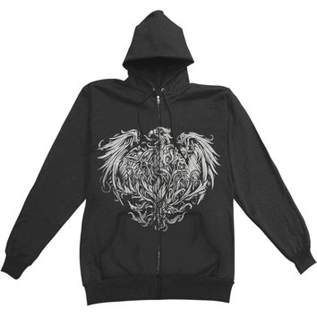 A Day To Remember Men's  Golden Eagle Zippered Hooded Sweatshirt Black