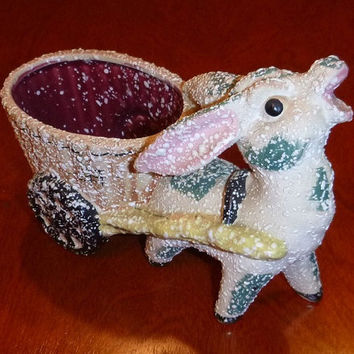 Vintage Donkey Planter Figurine Kitch Burro Vase Japan Pottery, Child Room Nursery Decor Kawaii Ceramic Statue Baby Gift 40s 50s Collectible