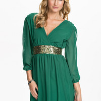 Green V-neck Mesh Long Sleeve Belted A-Line Pleated Mini Dress