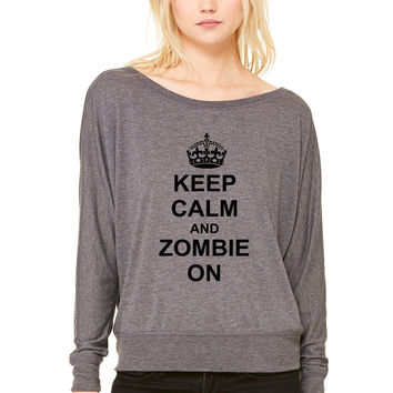 Keep Calm And zombie On WOMEN'S FLOWY LONG SLEEVE OFF SHOULDER TEE