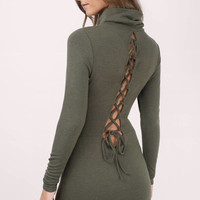 Khal Lace Up Bodycon Dress