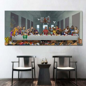 Basketball Stars Poster Last Supper Kobe Bryant Jordan Wall Art Paint Decor Silk Prints Silk Art Poster Paintings NoFrame