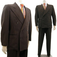 Vintage 40s Suit Men's Brown Pinstripe Wool Double-breasted Hollywood waist 42
