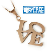 "Love Gift - LOVE Monogram Couples Necklace, 18"" Chains Included"
