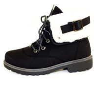 Lace-Up Foldover Hiking Lug Black Boots