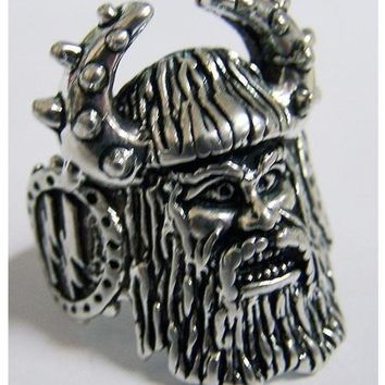 Quality VIKING WITH BEARD HORNED HAT SILVER BIKER RING BR30 mens