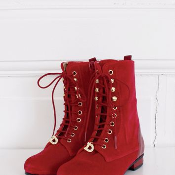 DOLLY by Le Petit Tom ® VELVET VICTORIAN BOOTS 13VELVIC red
