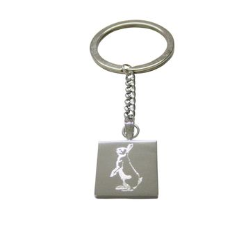 Silver Toned Etched Standing Rabbit Keychain