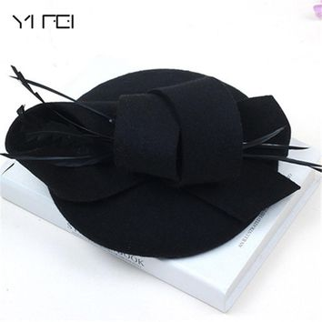 Women Wedding Hats Hair Accessories Fascinator Hat Autumn Winter Hollow Veil Wool Felt Women Fedoras Cocktail Formal Dress Hats