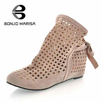 Big Size 34-43 Gladiator Sandals for Women Inside Wedges Round Toe Platform Cutout Sandals Summer Chic Casual Shoes XB978