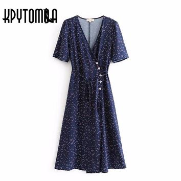 Vintage Floral Print Button Wrap Long Dress Women 2018 New Fashion Summer Bandage V Neck Pleated Dresses Casual Vestidos Mujer