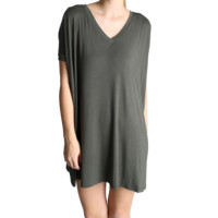 Army Green Piko Tunic V-Neck Short Sleeve Dress
