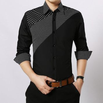 Men Spring Autumn Long Sleeve Casual Shirts Polka Dot Flannel Men Slim Fit chemise