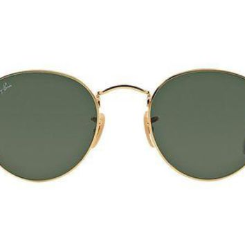 Kalete Ray Ban RB3447 001 50 Gold Frame Green Classic G 15 Round Lens 50MM Sunglasses