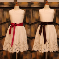 Ivory Cotton Eyelet Embroidery Lace Flower Girl Dress with Fushia/Brown Sash Baby Girl dress for wedding