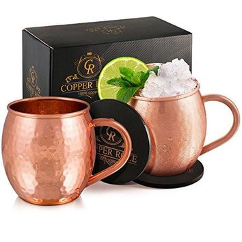 Copper Roze Moscow Mule Copper Mugs Gift Set of 2 Copper Mule Mugs and 2 Coasters 100 Pure Solid Copper Cups with Hammered Finish