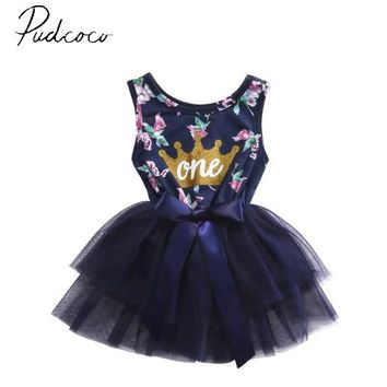 pudcoco sleeveless o-neck pullover fashion hot Adorable Baby Girls Summer Ruffle Bowknot Party Tulle Dress Sundress Clothes6-24M