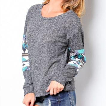chevron sequin aztec sleeve top , charcoal sweater sweaters winter clothing clothing's sequins tops boutique clothing women's fall indie
