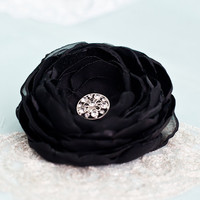 Large Black Chiffon and Organza Peony Flower Hair by BelleBlooms