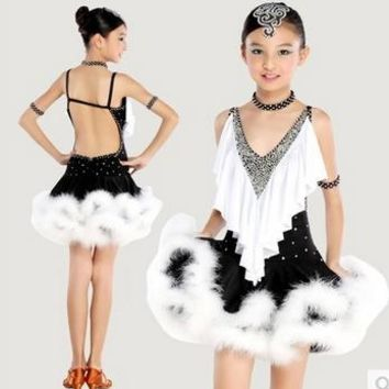 Winter Child Black Latin Dance Dress Ballroom Dancing Dresses for Kids Kid Feather Salsa Dance Costume Modern Dance Costume 89