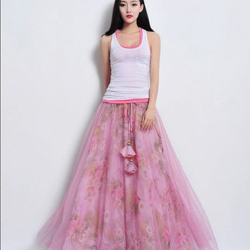 Pink Tulle Floral Print Full Pleated Skirt Beach A-line Dress Long Maxi Bohemian Wedding Bridesmaid Party Holiday Day Prom Ball Gown Flowy