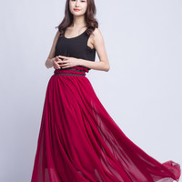 Burgundy Maxi Skirt Plus Size Wedding Skirt Chiffon Long Skirts Beautiful Elastic Waist Floor Length Summer Skirt (201) , 91#