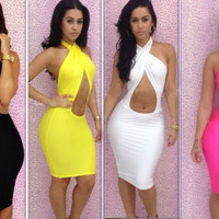 Sexy women lady dress backless body con dress club wear evening dress mini dress S-L 3 COLORS