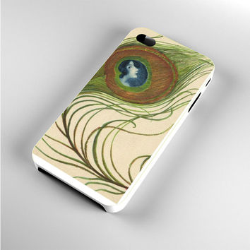 Lady Deco Peacock Feathers Art iPhone 4s Case
