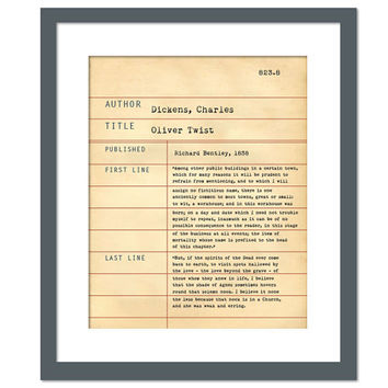 Oliver Twist by Charles Dickens - Library Card Art Print - Book Lover Poster - Library Poster - Children's Book Gift - Dewey Decimal System