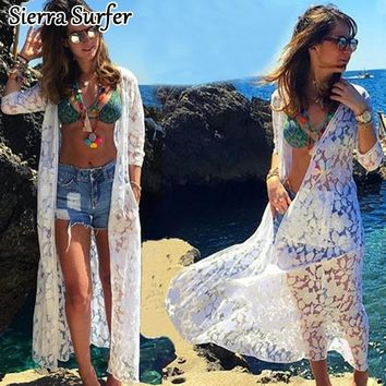 And Tunics Beach Dresses Lace Cover Up Coverups For Kaftans The Summer Outputs Saida De 2018 New Lace Hollowed Pocket Long