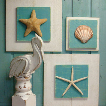 Starfish Plaque Sign Extra Large Wall Art Beach House Decor - One Plaque of Your Choice by CastawaysHall