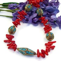 Tibetan Turquoise Beads Red Coral Handmade Necklace Ethnic Jewelry