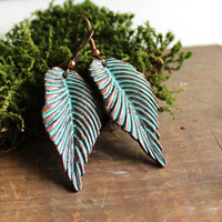 Copper Patina Leaf Earrings