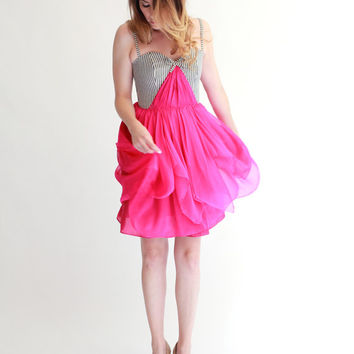 Striped Organic Cotton Bodice with hot pink Silk chiffon skirt--Size  2