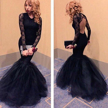 Mermaid Prom Dresses,Black Prom Dresses,Long Evening Dress