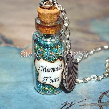 12pcs Mermaid Tears Magical necklace with a Sea Shell Charm Pirates of the Caribbean Stranger Tides inspired neckalce silver