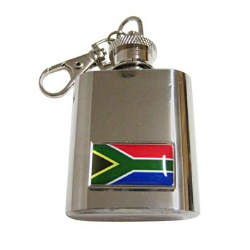 Thin Bordered South Africa Flag Pendant 1 Oz. Stainless Steel Key Chain Flask