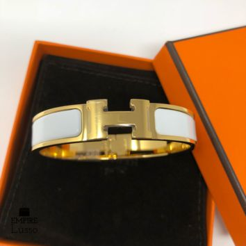 NEW HERMES CLIC CLAC WHITE GOLD HARDWARE H NARROW ENAMEL BRACELET CUFF PM SMALL