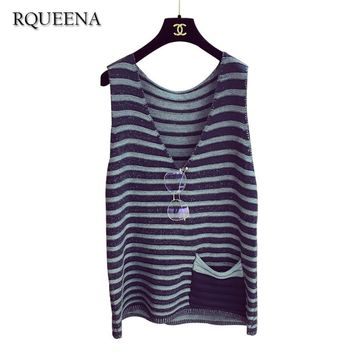 Rqueena Woman Sleeveless Pullover Knitting Vest Spring New Pattern Pure Cotton Sweater Knitted Tank Tops Shirts