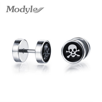 Modyle Brand Buttons Unisex Stud Earrings Metal Skeleton Round Men Women High Polished Stainless Steel Jewelry