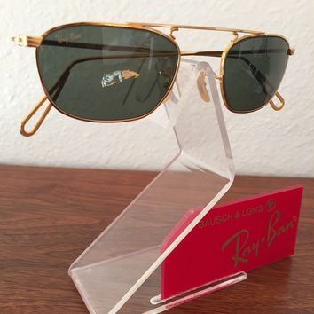 Vintage B&L Ray Ban Rectangle Mod Aviator W2001 Antique Small Sunglasses New NOS