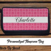 Personalized Cosmetic Bag - Makup Bags Pouch Neoprene Custom Cosmetics Polka Dots Name