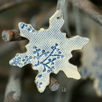 Snowflake Pottery Lace Decoration White Blue Ceramic Ornament Set of 3 Wedding Gift