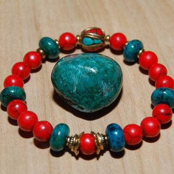 Nepalese Mosaic Bead Mala Bracelet with Chryscolla Howlite Gemstone Reiki Healing Love Heart Root Chakras Christmas Green Teal and Red