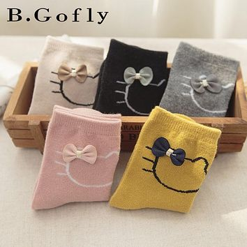 5 pairs Autumn Kids Baby Toddler Students Carton Kitty Funny Animal Fox Cotton Children Toddler Ankle Girl Boy Socks for Girl