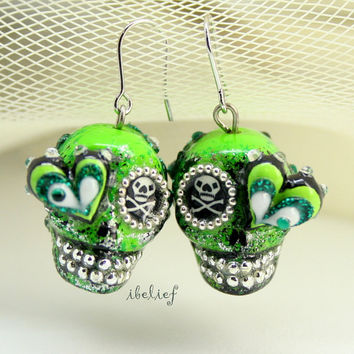 Skull in a-day is the day of the dead skulls green earrings stone ES0070