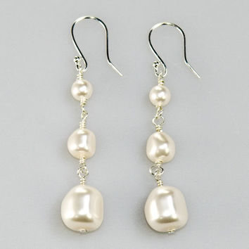 Drop Earrings. White Baroque Pearl