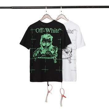 HCXX 19July 439 Off White Public Television ON AIR Print Men and Women Short Sleeve Loose Cotton T-Shirt