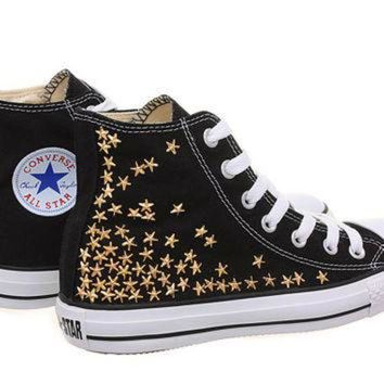 CREYONB Studded Converse, Converse High Top with Gold Star Studs by CUSTOMDUO on ETSY